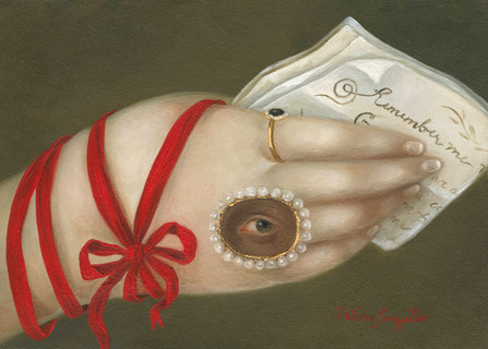 "Fatima Ronquillo, ""Remember: Hand with Christina Rossetti,"" 2018, oil on panel, 5 x 7 inches, SOLD"