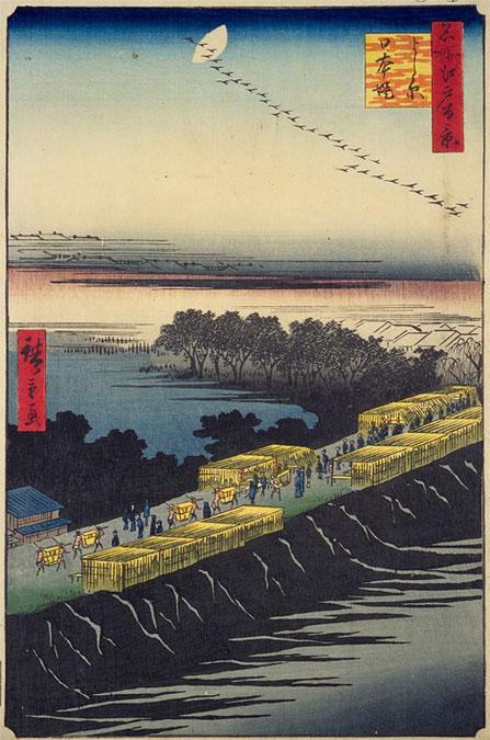 出典 国立国会図書館「名所江戸百景 よし原日本堤」
