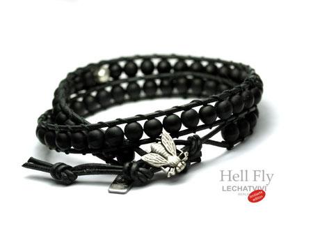 LeChatVIVI Drag me to Hell Fly Fliege Schwarzes Perlenarmband für Männer Herren Berlin Design Armband Perlen Leder