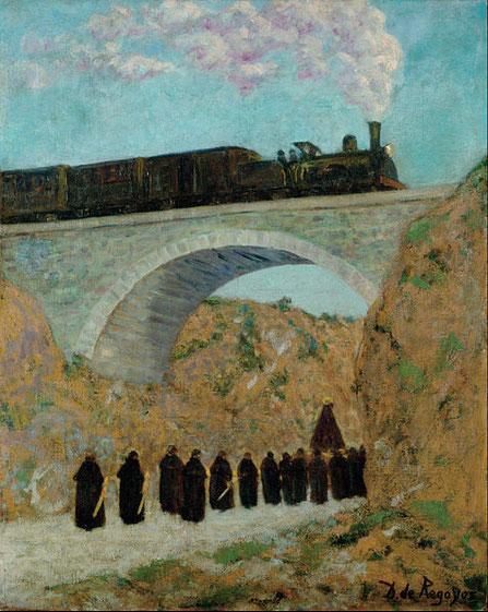 Darío de Regoyos. Viernes Santo en Castilla,1904.Óleo sobre lienzo.86x65cm.Museo de Bellas Artes de Bilbao.