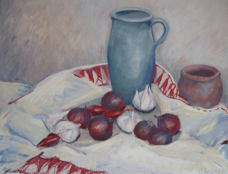 Krug mit roten Zwiebeln II,  Eitempera, 50x60