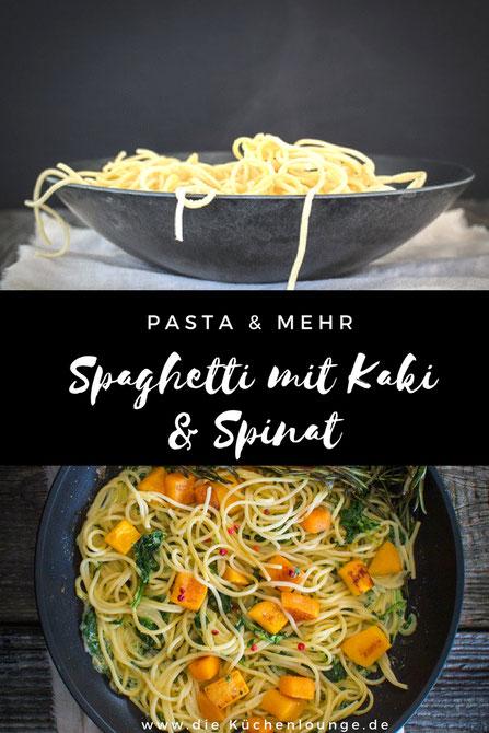 Pasta & mehr, Spaghetti mit Kaki und Spinat