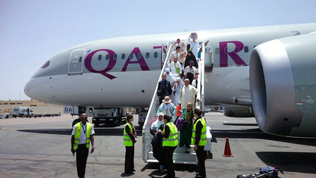 モロッコ玄関口、カサブランカにある「ムハンマド5世空港」に飛行機が着いたところです