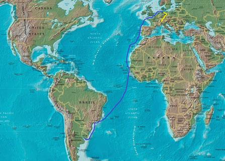 Route Verschiffung: Hamburg – Tilbury - Antwerpen – Le Havre -Dakar/Senegal  - Santos (bei Sao Paulo)/Brasilien -  Zarate/Argentinien - Montevideo/Uruguay
