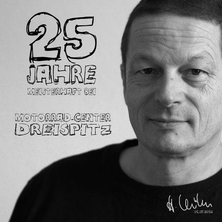 25 Jahre bei Motorrad-Center Dreispitz in Binzen: Herwig Kühn, Werkstattmeister