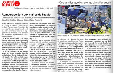 Ouest-France du 11 mai : Romeurope écrit aux maires ... et réaction du diocèse de Nantes
