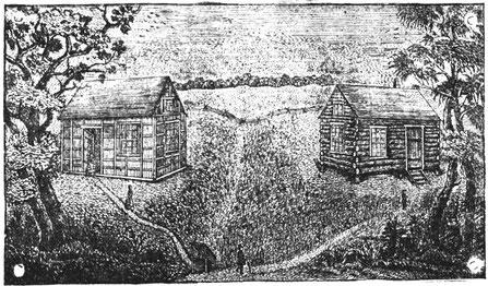 """Erste Siedlungshäuser der Sächsisch-Lutherischen Auswanderer 1839 unter Stephan in Perry County, rechts die erste """"Lehranstalt"""";   Quelle: Köstering, St. Louis 1867"""