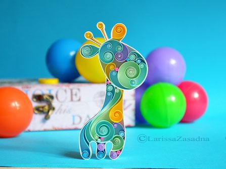 quilling , art, paper art, quilling paper art, animals quilling art, quilling giraffe, kids art, quilling kidsroom, paper,  quilling wall art, artwork, квиллинг, Larissa Zasadna, Лариса Засадная, Квиллинг бумага