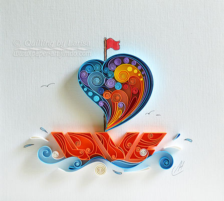 quilling , quilling paper, paper art, art, love, ship, love ship design, love heart, hearts, quilling art, quilling paper art, etsy, creative, love art