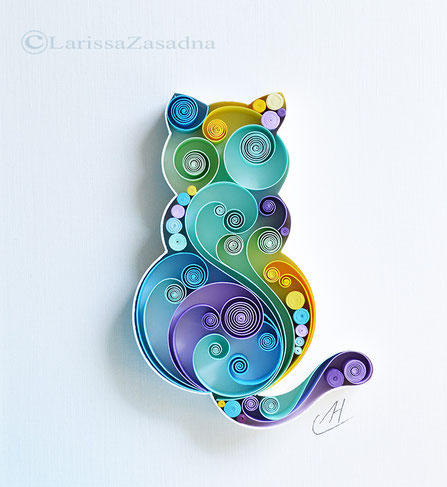 quilling , art, paper art, quilling paper art, quilling art, quilling cat, happy art, cat, paper,  quilling wall art, artwork, квиллинг, Larissa Zasadna, Лариса Засадная, Квиллинг бумага