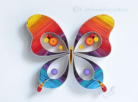 quilling , art, paper art, quilling paper art, quilling art, butterfly, quilling butterfly, quilling wall art, art, happy, paper, rainbow, quilling letters, artwork, квиллинг, Larissa Zasadna, Лариса Засадная, Квиллинг бумага