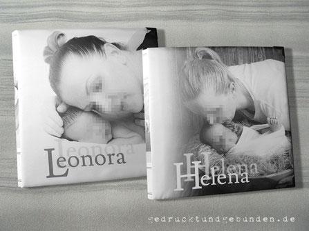 Fotogeschenk Fotoalbum Geburt, Hardcover gepolstert, eigene Fotos auf Stoff gedruckt, individuelles Layout inkl. Bildbearbeitung