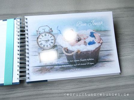 Fotoalbum zur Taufe individuell gestaltbarer Hardcovereinband Personalisierung Druck im Inneren auf 250g-Fotokarton weiß