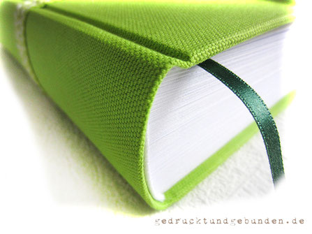 Tagebuch Hardcover Stoffeinband Stoffart Canvas apfelgrün