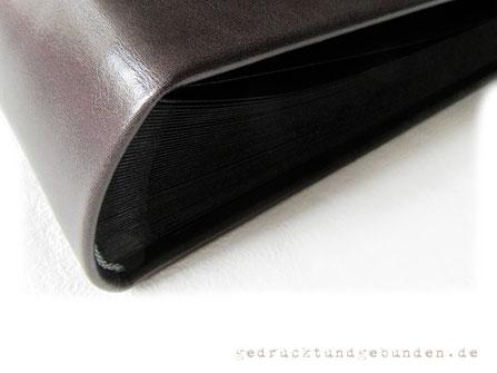 Fotoalbum Hardcover Leder mittelgrau Fotoalbum-Buchblock schwarz mit Pergaminzwischenblättern