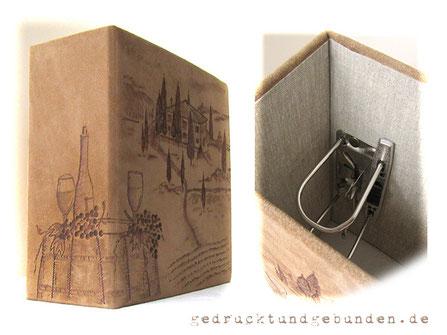Individueller Lederordner für A5 Hüllen mit 2-Ring-Hebelmechanik Füllhöhe 9cm Spaltleder natur/sand  Thema Branding Wein
