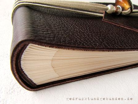 Ledereinband Softcover Leder dunkelbraun Fotoalbum-Buchblock ohne Pergaminzwischenblätter Verwendungszweck Foto-Gästebuch Poesiealbum