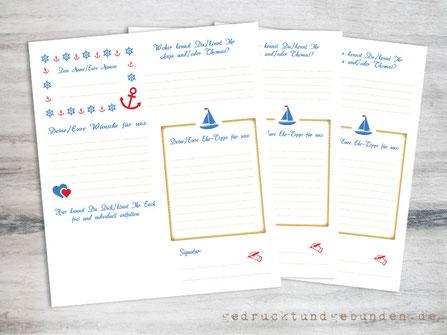 Individueller Gästefragebogen maritime Hochzeit individuelles Layout Fragen, Symbole, Schriftart, Farben frei wählbar