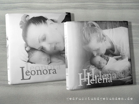 Fotoalbum Geburt, Hardcover gepolstert, Foto auf Stoff gedruckt, individuelles Layout inkl. Bildbearbeitung