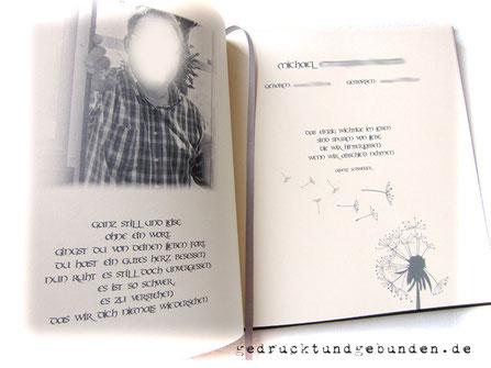 Kondolenzbuch Buchblock creme mit Leseband silberfarben
