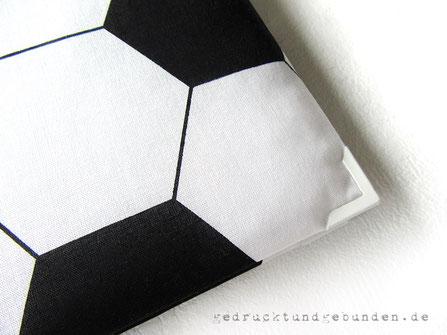 Bucheinband Stoff Hardcover gepolstert Metallbuchecken weiß lackiert 20mm Schenkellänge Fußballalbum Fotoalbum Fußball Kinderalbum Fussball