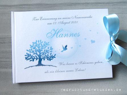 Gästebuch Namensweihe, Hardcovereinband individuell bedruckt und zum Schutz foliert
