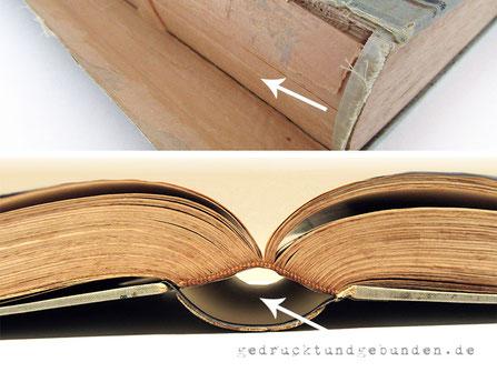 Buchreparatur - Buchblock repariert, Vorsatzpapier Heftgaze Kapitalband Hülse neu