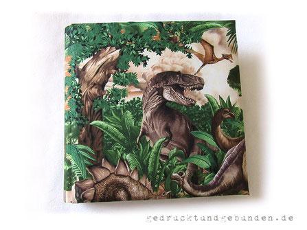 Fotoalbum für Kinder, Stoffalbum Hardcovereinband gepolstert,  Baumwollstoff glatt, Dinosaurier Bäume Wasser braun grün