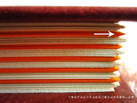 Bundversatz, Buchblock unbeschnitten, Rezeptbuch, wechselnde Lagen farbigen Papieres