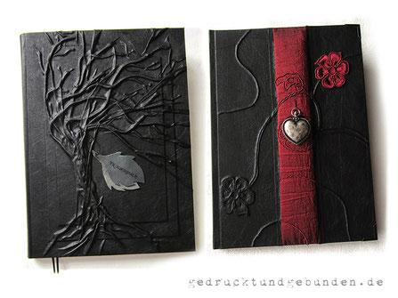 Trauerbücher Kondolenzbücher mit individuell gestaltbarem Bucheinband und individuell bedruckter Doppelseite im Buch - Setzen Drucken Binden - handgefertigtes Kondolenzbuch.