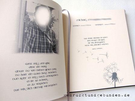 Kondolenzbuch mit individuell bedruckter Doppelseite im Buch - Setzen Drucken Binden - handgefertigtes Kondolenzbuch.