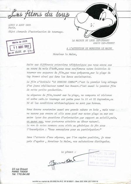 La lettre de la société de production Les Films du loup, signée par son gérant, Luc Besson. Reproduction Archives communales du Cap-Ferret.
