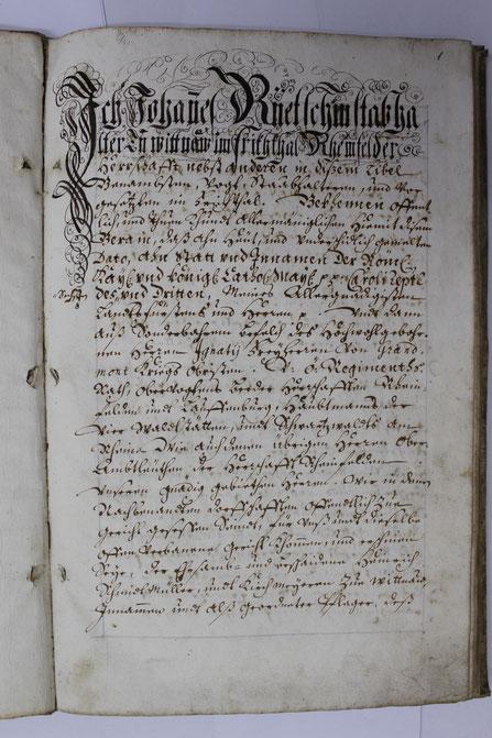 Pfarrarchiv Wittnau: Zinsbereinigung der Pfrundgüter von ca. 1725