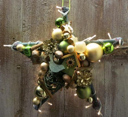 Stern, Türkranz, leuchtstern, fenster-deko, handgefertigt, grün, gold