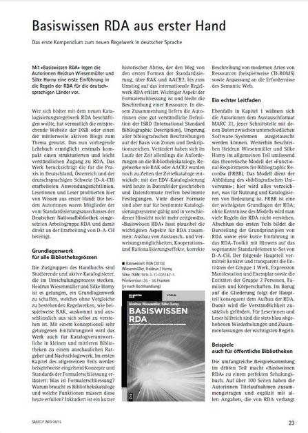 Rezension von Heike Ehrlicher in SAB Info 4/2015, S. 23-24