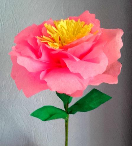 Rose en papier crépon fin