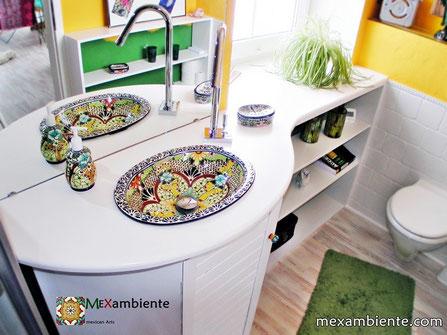 bunte Design Waschbecken aus Mexiko geeignet für ein tolles Gästebadezimmer