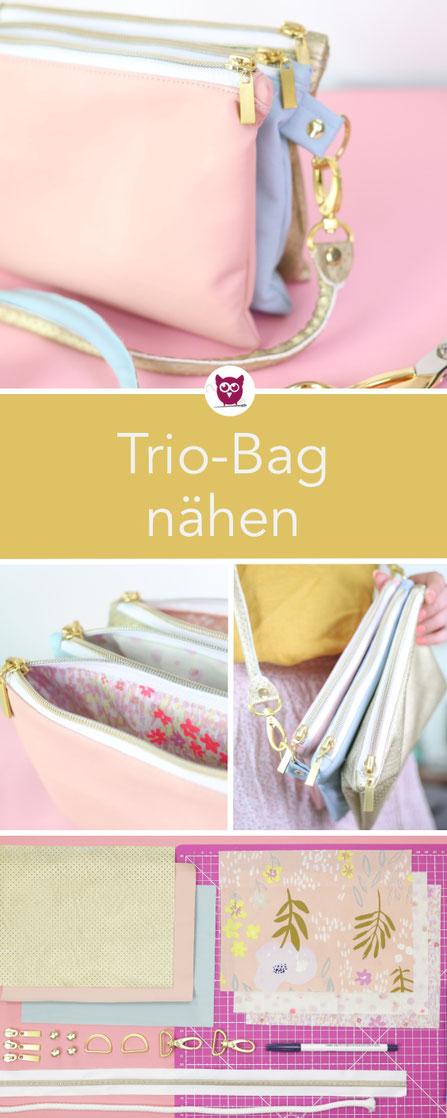 Trio-Bag nähen: Handtasche aus drei zusammengenähten Fächern aus Kunstleder mit Reißverschluss und Zwischenfächern. Kostenlose Nähanleitung – nähen ohne Schnittmuster von DIY Eule. Perfekte kleine Handtasche für den Frühling mit DIY Paspel Henkel.