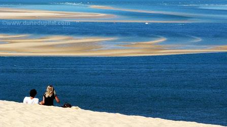 Blick von der Düne auf die Sandbank