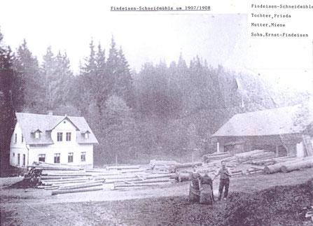 Bild: Teichler Wünschendorf Erzgebirge  Findeisen-Schneidemühle 1907/08