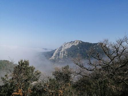 Dentelles de Montmirail sous la brume. Crédit photo A.Molina