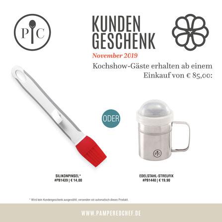 Kundengeschenk Pampered Chef August 2019 Servierheber und Nylon-Abtropfwender