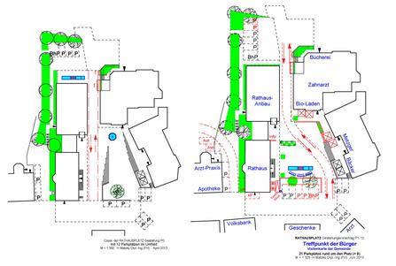 Vergleich der beiden Vorschläge, links Gemeinde, rechts Vorschlag RAT