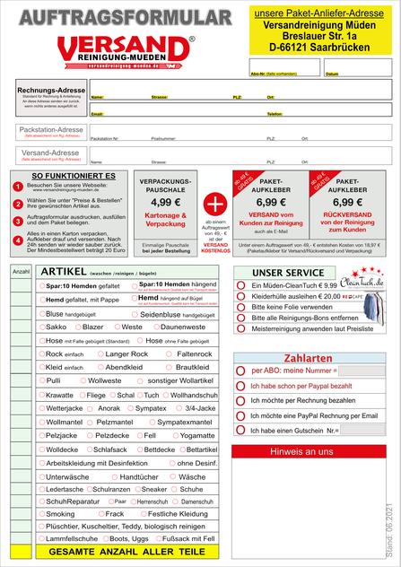 Versandreinigung-mueden.de, Auftragsformular, Bild von Müden Auftragsformular