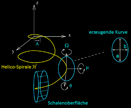 Helico-Spirale mit frei drehbarer Ellipse