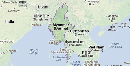 MAP OF BURMA (MYANMAR)