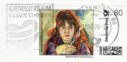 Bettina Heinen-Ayech (1937-2020)  - abgestempelte Briefmarke