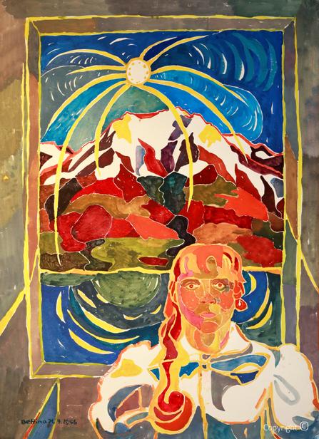 Bettina Heinen-Ayech (937-2020): Selbstbildnis im Tessin, 1956