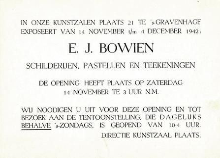 Einladungskarte zur Bowien Ausstellung 1942 in Den Haag