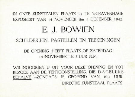 Invitation card for the Bowien exhibition in 1942 in The Hague